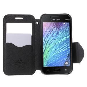 PU kožené pouzdro s okýnkem Samsung Galaxy J1 - černé - 2