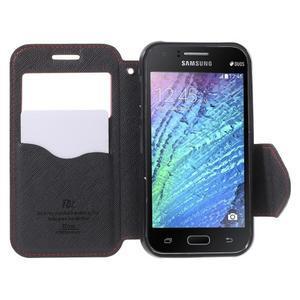 PU kožené pouzdro s okýnkem Samsung Galaxy J1 - červené/černé - 2