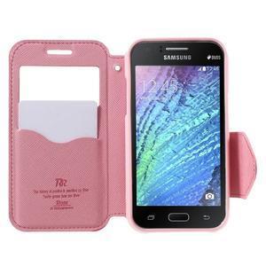 PU kožené pouzdro s okýnkem Samsung Galaxy J1 - rose/růžové - 2