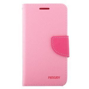 Diary PU kožené pouzdro na Samsung Galaxy J1 (2016) - růžové - 2