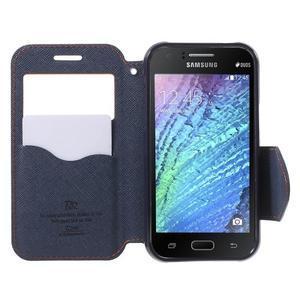 PU kožené pouzdro s okýnkem Samsung Galaxy J1 - oranžové/tmavě modré - 2