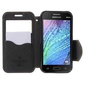 PU kožené pouzdro s okýnkem Samsung Galaxy J1 - žluté/černé - 2