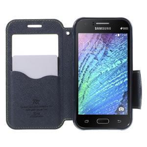 PU kožené pouzdro s okýnkem Samsung Galaxy J1 - zelené/tmavě modré - 2