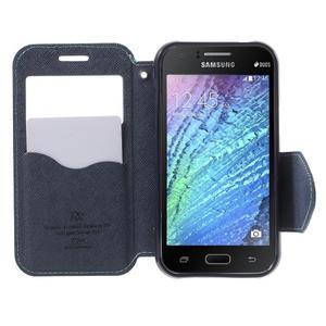 PU kožené pouzdro s okýnkem Samsung Galaxy J1 - světle modré/tmavě modré - 2