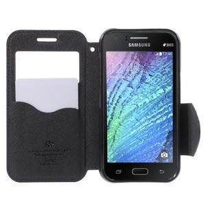 PU kožené pouzdro s okýnkem Samsung Galaxy J1 - tmavě modré/černé - 2
