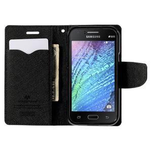 Černé PU kožené pouzdro na Samsung Galaxy J1 - 2
