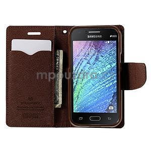 Černé/hnědé PU kožené pouzdro na Samsung Galaxy J1 - 2