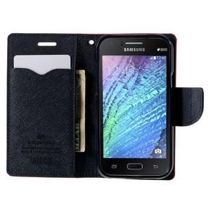 Červené/tmavě modré PU kožené pouzdro na Samsung Galaxy J1 - 2