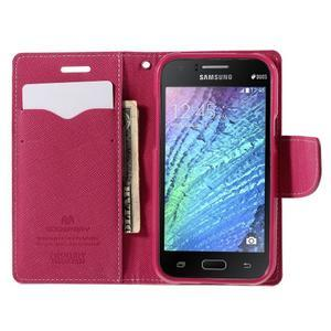 Růžové/rose PU kožené pouzdro na Samsung Galaxy J1 - 2