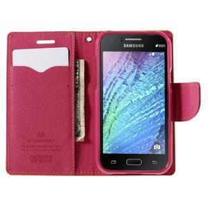 Žluté/rose PU kožené pouzdro na Samsung Galaxy J1 - 2