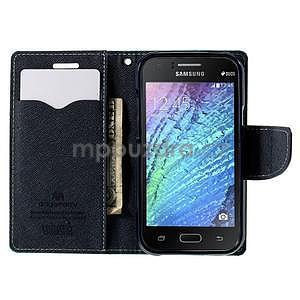 Azurové/tmavě modré PU kožené pouzdro na Samsung Galaxy J1 - 2