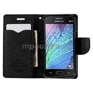 Hnědé/černé PU kožené pouzdro na Samsung Galaxy J1 - 2