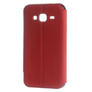 Roar PU kožené pouzdro s okýnkem na Samsung Galaxy J3 (2016) - červené - 2