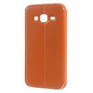Peněženkové PU kožené pouzdro s okýnkem na Samsung Galaxy J3 (2016) - oranžové - 2