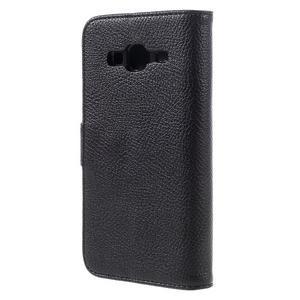 High PU kožené pouzdro na mobil Samsung Galaxy J3 (2016) - černé - 2