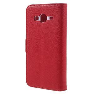 High PU kožené pouzdro na mobil Samsung Galaxy J3 (2016) - červené - 2