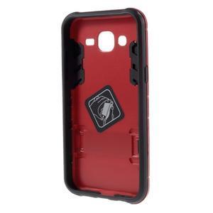 Odolný kryt 2v1 se stojánkem na Samsung Galaxy J5 - červený - 2