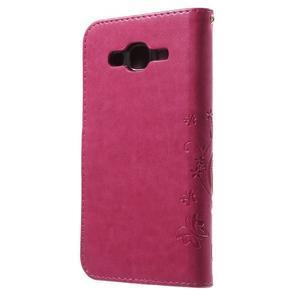 Butterfly PU kožené pouzdro na Samsung Galaxy J5 - rose - 2