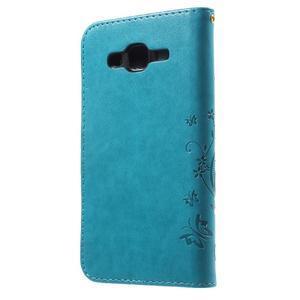 Butterfly PU kožené pouzdro na Samsung Galaxy J5 - modré - 2