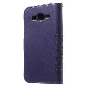Butterfly PU kožené pouzdro na Samsung Galaxy J5 - fialové - 2