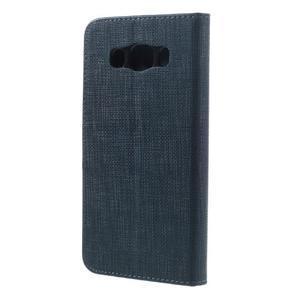 Cloth PU kožené pouzdro na Samsung Galaxy J5 (2016) - tmavěmodré - 2
