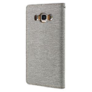 Canvas PU kožené/textilní pouzdro na Samsung Galaxy J5 (2016) - šedé - 2