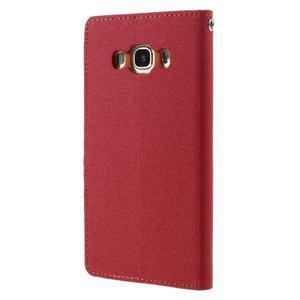 Canvas PU kožené/textilní pouzdro na Samsung Galaxy J5 (2016) - červené - 2