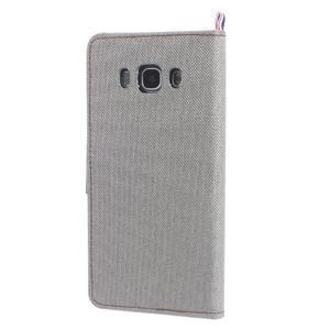 Denim peněženkové pouzdro na Samsung Galaxy J5 (2016) - šedé - 2