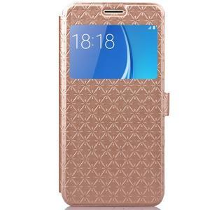 Stars pouzdro s okýnkem na mobil Samsung Galaxy J5 (2016) - zlaté - 2
