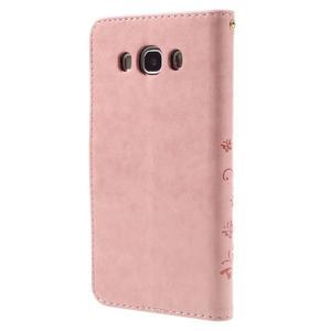 Butterfly PU kožené pouzdro na mobil Samsung Galaxy J5 (2016) - růžové - 2