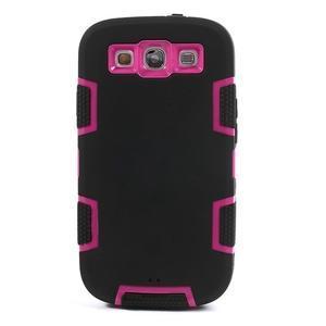 Odolné silikonové pouzdro na mobil Samsung Galaxy S3 - černé/rose - 2