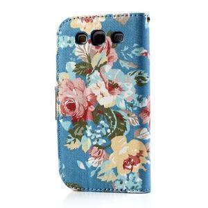 Květinové pouzdro na mobil Samsung Galaxy S3 - modré pozadí - 2