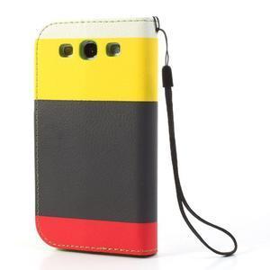 Tricolors PU kožené pouzdro na mobil Samsung Galaxy S3 - černý střed II - 2