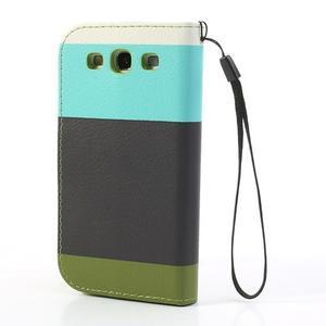 Tricolors PU kožené pouzdro na mobil Samsung Galaxy S3 - černý střed - 2