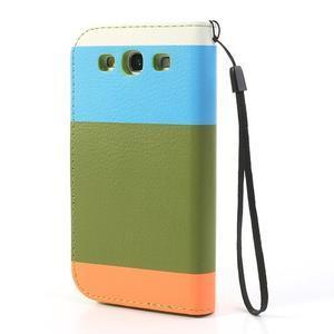 Tricolors PU kožené pouzdro na mobil Samsung Galaxy S3 - zelený střed - 2