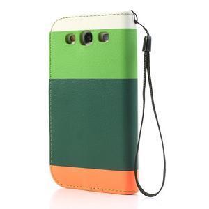 Tricolors PU kožené pouzdro na mobil Samsung Galaxy S3 - tmavězelený střed - 2
