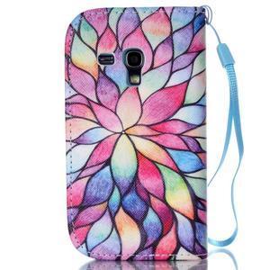 Knížkové PU kožené pouzdro na Samsung Galaxy S3 mini - barevné květy - 2