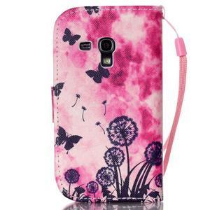 Knížkové PU kožené pouzdro na Samsung Galaxy S3 mini - motýlci - 2