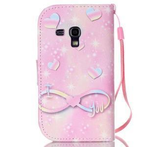 Knížkové PU kožené pouzdro na Samsung Galaxy S3 mini - láska - 2