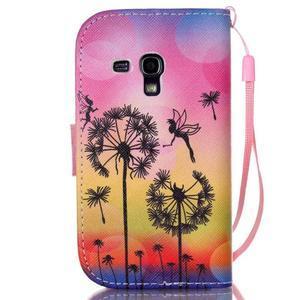 Knížkové PU kožené pouzdro na Samsung Galaxy S3 mini - pampelišky - 2