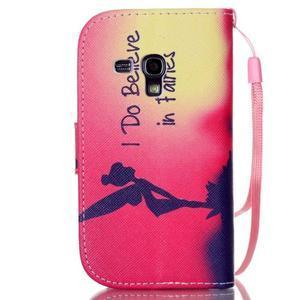 Knížkové PU kožené pouzdro na Samsung Galaxy S3 mini - víla - 2