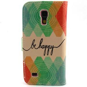 Diaryleather pouzdro na mobil Samsung Galaxy S4 mini - be happy - 2