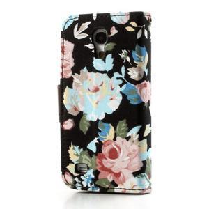 Květinkové pouzdro na mobil Samsung Galaxy S4 mini - černé pozadí - 2