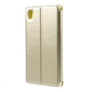Okýnkové PU kožené pouzdro na Sony Xperia M4 Aqua - zlaté - 2