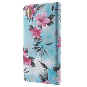 Květinkové pouzdro na mobil Sony Xperia M4 Aqua - modré - 2