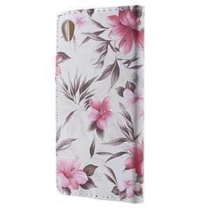 Květinkové pouzdro na mobil Sony Xperia M4 Aqua - bílé - 2