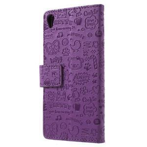 Cartoo peněženkové pouzdro na mobil Sony Xperia XA - fialové - 2