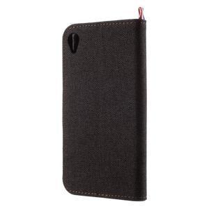 Denim textilní/koženkové pouzdro na Sony Xperia XA - černé - 2
