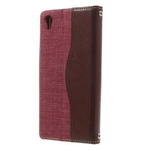 Jeansy PU kožené/textilní pouzdro na Sony Xperia XA - rose - 2