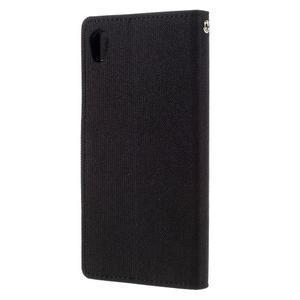 Canvas PU kožené/textilní pouzdro na mobil Sony Xperia XA - černé - 2